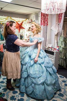 Kate Goetschius helps Kara Lindsay get ready for her debut as Broadway's newest Glinda - 12/16/14.