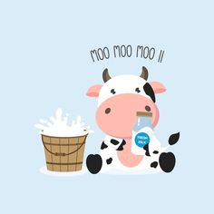 Little cow with milk bucket and milks. - Buy this stock vector and explore similar vectors at Adobe Stock Animal Wallpaper, Cartoon Wallpaper, Cow Wallpaper, Art Drawings Sketches Simple, Easy Drawings, Doodles Kawaii, Monkey Illustration, Cartoon Cow, Food Art For Kids
