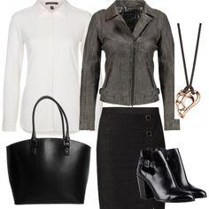 Look da ufficio molto informale: giacca di pelle versatile, indossata con una gonna in jeans nera, una bella e candida camicia bianca, scarpe e borsa nere e un bel girocollo.