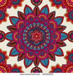 Mandala boho hand drawn seamless pattern. Vector illustration