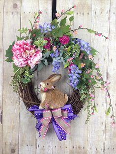 Spring Wreath Front Door Wreath Easter Wreath Door Wreath Wreaths And Garlands, Outdoor Wreaths, Floral Wreaths, Spring Front Door Wreaths, Spring Wreaths, Diy Wreath, Wreath Making, Wreath Ideas, Grapevine Wreath