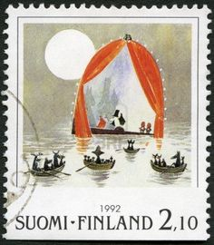 Picture of FINLAND - CIRCA A stamp printed in Finland shows Moomin Cartoon Characters, by Tove Jansson: Boats in water, circa 1992 stock photo, images and stock photography. Tove Jansson, Moomin Cartoon, Les Moomins, Rare Stamps, Postage Stamp Art, Stamp Printing, Stamp Collecting, Mail Art, Marimekko