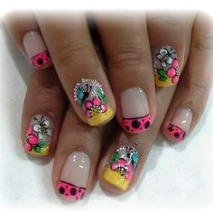 Animal Nail Designs, Cool Nail Designs, Wow Nails, Cute Nails, Mani Pedi, Manicure And Pedicure, Spring Nails, Summer Nails, Different Types Of Nails