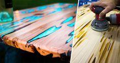 Un diseñador muestra cómo hacer una mesa que brilla en la oscuridad con simple resina