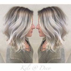 Icy blonde balayage with ashy roots Hair Color