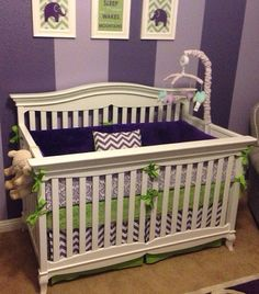 Modern Lime Green and Purple Crib Bedding by butterbeansboutique, $340.00