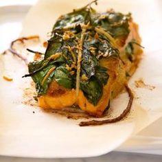 Spinach Stuffed Roast Salmon