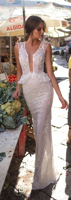 The stunning BRITNEY style from the new #MUSEbyBerta 2018 Sicily collection/ Follow me @ Melissa Riley- for more modern wedding dress collections, modern eye makeup ideas, wedding cakes, unique wedding photo ideas, modern hairstyles and more. lovemelissariley.com