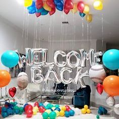 Welcome Home Surprise, Welcome Back To Work, Welcome Back Party, Welcome Home Parties, Welcome Home Decorations, Welcome Home Banners, Welcome Decor, Balloon Decorations, Birthday Decorations