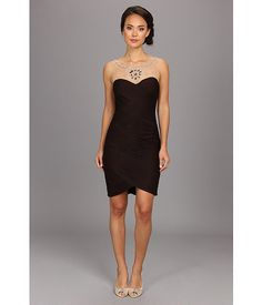 Adrianna Papell Rouched Mesh Necklace Dress