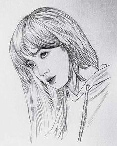 Pencil Drawings Of Girls, Kpop Drawings, Art Drawings Sketches Simple, Realistic Drawings, Eye Sketch, Figure Sketching, Cartoon Girl Drawing, Art Corner, Celebrity Drawings