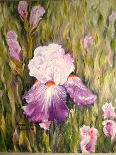 painting oil on canvas, Iris, Oil On Canvas, Artworks, Painting, Irises, Painted Canvas, Art Pieces, Painting Art, Paintings