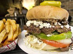 The Greek Burger at Hubcap Grill (Houston, TX). #UniqueEats #burger
