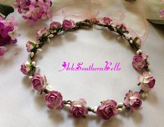 Bridal Wedding CROWN Floral Bridal crown with by ArkSouthernBelle
