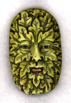 China Painted Porcelain Greenman Pendant for Jewelry Makers or Button for collectors.Measures approximately 2 1/8""
