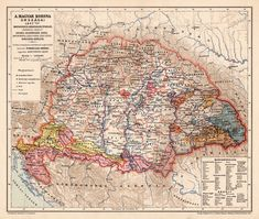 A Magyar Korona Országai 1847 térkép, kiadva 1898 Vintage World Maps