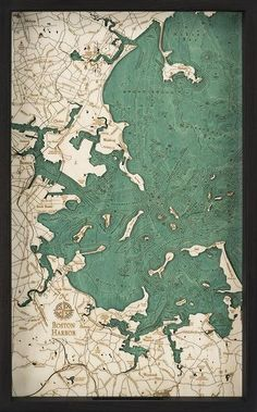 """Acrylic glass top, carved wood serving tray featuring an engraved map of The Boston Harbor. Approximately 20"""" x 13"""" Perfect for tea parties! Free U.S. shipping!  Please Note:  This is a natural wood product. Do not expose to direct sunlight, moisture, or excessive heat. Variations in color and wood grain will occur. We are not able to customize orders."""