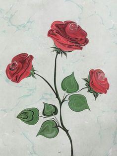 Çiçek ebru ( gül )