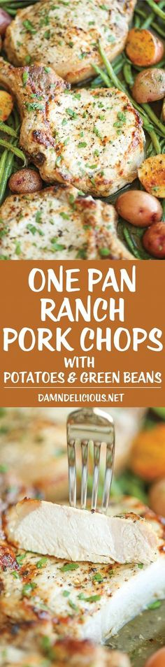 Pan Ranch Pork Chops and Veggies One Pan Ranch Pork Chops and Veggies - The easiest meal EVER! And yes, you just need one pan with 5 min prep. It's quick, easy and effortless!One Pan Ranch Pork Chops and Veggies - The easiest meal Pork Chop Recipes, Meat Recipes, Cooking Recipes, Healthy Recipes, Recipies, Syrian Recipes, Pork Beef, Recipes Dinner, Pork Chop Meals