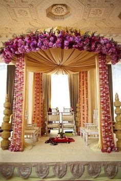 Cream and purple themed wedding stage.. Made for an Indian wedding but I LOVE the canopy and flowers!
