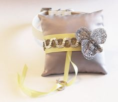 Silver Yellow Ring Pillow Ring Pillow attach to the by LADogStore, $76.50 #RingPillow #Wedding #Unique #UniqueWedding #SilverYellowWedding #SilverYellow #SilverColor #SilverWedding #Silver #YellowWedding #YellowColor #YellowSilver #Yellow #Flower #Collar #RingDog #LADogStore #LA #Dog #Store