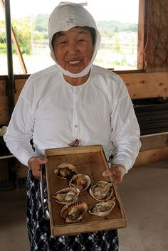 Ama - Japanese divers, famous for collecting pearls. The majority of ama are women. They can keep diving well into old age. The older divers are generally able to stay submerged longer than the younger.