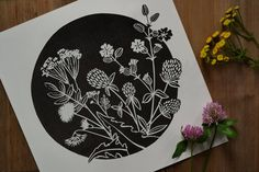 Arte Floral, Motif Floral, Lino Art, Meadow Flowers, Wild Flowers, Linoprint, Flower Graphic, Linocut Prints, Spring Flowers