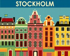 Stockholm, Sweden Flats - Art Poster and Wall Art for Home, Office, Childrens Rooms - style Art Pariétal, Kunst Poster, Thinking Day, Stockholm Sweden, Visit Stockholm, Canvas Prints, Art Prints, Vintage Travel Posters, Poster Vintage