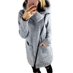 New Asymmetric grey wool Coat Long Sleeve Women Overcoat Elegant Zipper Long Sleeve Slim Fall Winter clothing vetement femme #5