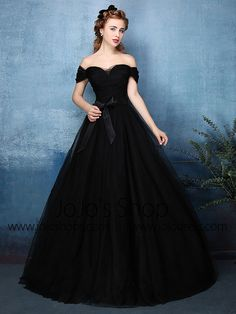 Beautiful Simple Ball Gown Off The Shoulder Sweetheart Black Tulle Prom Dress 2016 With Bow Sash Grad Dresses Long, Prom Dresses 2016, Bridal Dresses, Dress Long, Bridesmaid Dresses, Tulle Ball Gown, Tulle Prom Dress, Vestidos Vintage, Vintage Dresses