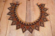 Handbeaded necklace, handmade multicolor beads, turquoise and gold, very chic, huichol art Huichol Art, Macrame Jewelry, Handmade Necklaces, Knots, Beading, Beaded Necklace, Turquoise, Jewellery, Etsy