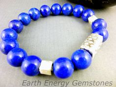 Natural Lapis Lazuli Bracelet Lapis with Hill Tribe Fine Silver by EarthEnergyGemstones
