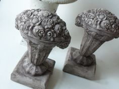 hold for smt - two cement flower urns (please do not purchase unless you are smt)