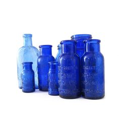Beautiful examples of Vintage to Antique Cobalt Blue bottles.