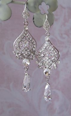 WOW!!!!!!    Swarovski Rhinestone Chandelier Earrings, Crystal Bridal Earrings - AGRIPPINA. $56.00, via Etsy.