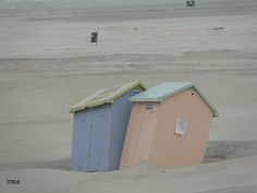 Beach cabins, houses.