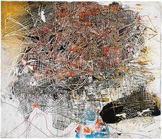 mark bradford. Maplike abstract painting.