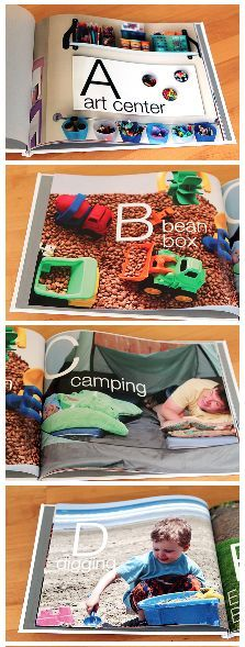 DIY Photo Alphabet Book - make a custom alphabet book using all your child's favorite things and memories. Such a cool idea and the post has some great suggestions for each letter.