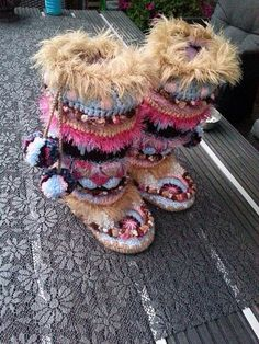 Gehaakte funky sloffen funky boots Dutch patroon/pattern