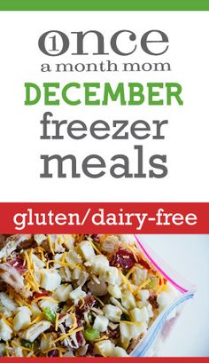 Gluten Free Dairy Free freezer menu seasonal to December.
