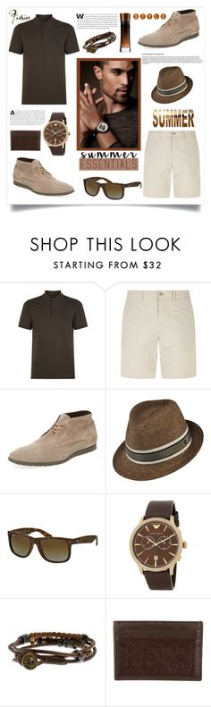 """""""Summer Essentials: Menswear"""" by southindianmakeup1990 ❤ liked on Polyvore featuring Giorgio Armani, Burberry, Paul Smith, Kaminski XY, Ray-Ban, Emporio Armani, Gucci, men's fashion and menswear"""