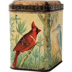 Peek Frean Antique Biscuit Tin, circa 1899 Bird House Five Lobed Birds Floral Scenes from #AntikAvenue on #RubyLane #biscuittins