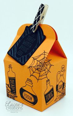 Turn the Baker's Box into a Deadly Halloween treat box with the Stampin' Up! Sweet Haunting stamp set! Elaine's Creations