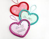 Valentines day card, one paper heart with crocheted edges, can be used as bookmark, handmade