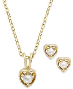 Lily Nily Children's 18k Gold over Sterling Silver Set, June Birthstone Pearl Pendant Necklace and Earrings Set (2mm and 3mm)
