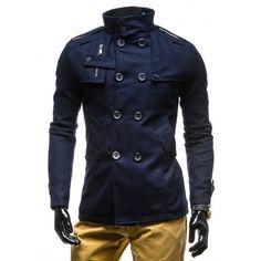 Pánský podzimní modrý kabát - manozo.cz Nike, Coat, Jackets, Fashion, Down Jackets, Moda, Sewing Coat, Fashion Styles, Peacoats