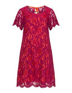 Manon Baptiste Kleid mit floraler Spitze in Pink / Orange