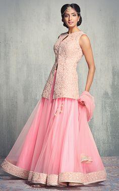 Pastel Pink Short Kurta with Net Lehenga