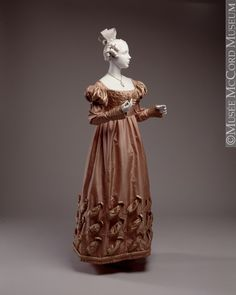 Dress  1823-1825, 19th century  Fibre: silk (taffeta, satin), cotton (lining); Sewn (hand)