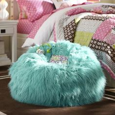 Fur-rific Deep Pool Beanbag | PBteen I WANT A DEEP PURPLE OR BLACK ONE